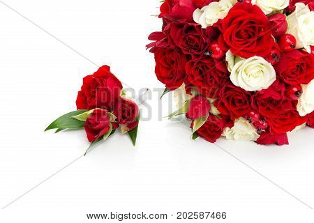 beautiful bridal bouquet with red and white roses and boutonniere for dog wedding isolated on white background. copy space.