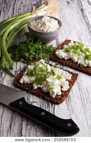 Cream Cheese On A Slice Of Bread Topped With Fresh Green Onions