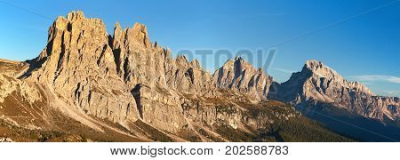 Morning panoramic view of Cima Ambrizzola Croda da Lago and Le Tofane Gruppe Dolomites mountains Italy