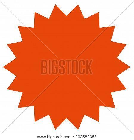 Red starburst, sunburst badge.  Vintage label, sticker. Simple flat style.Design elements. Vector illustration