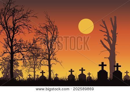Vector realistic illustration of a haunted cemetery with tombstones cross and trees without leaves under a dramatic orange sky with moon or sun
