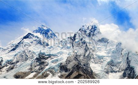 View of top of Mount Everest and Nuptse with clouds from Kala Patthar way to mount Everest base camp khumbu valley - Nepal