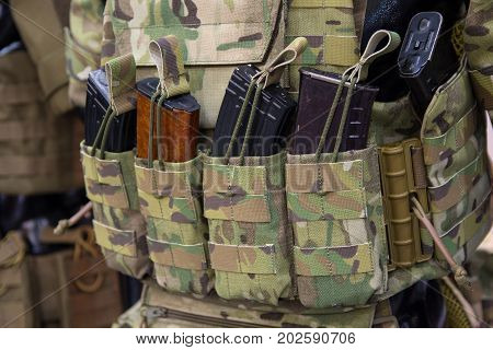 Pouches for ammunition closeup. Weapons and ammunition