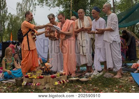 Kiev Ukraine - August 06 2017: Priests perform the Vedic ritual at the festival
