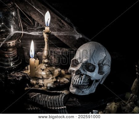 Skull and scary scene for Halloween party