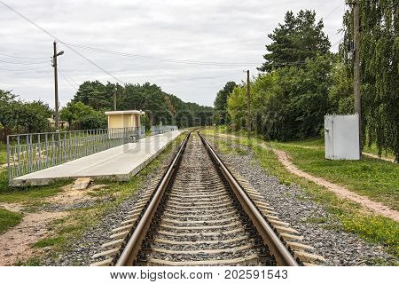 Railway transport. Platform of the stopping point on the railway