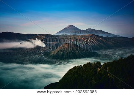 Bromo mount scenic view in dawn morning the active volcano from Bromo Tengger Semeru National Park in east java Indonesia