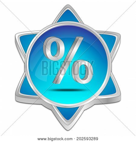 glossy blue Discount button - 3D illustration