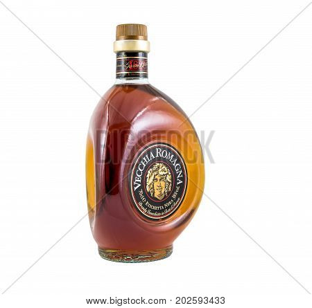 Ternopil Ukraine - August 26 2017: Brandy Vecchia Romagna. Made in Italy. Brandy aged in Oak Barrels. Isolated on white.
