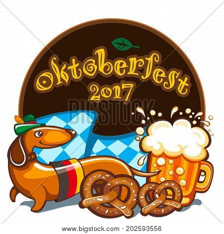 Oktoberfest celebration vector poster with lettering. German festival mug of beer Bavarian flag salty pretzels Dachshund sausage dog in alpine hat. Festive Banners headers frames and menu offers