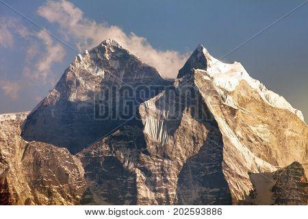 evening view of mount Kangtega and mount Thamserku trek to Everest base camp Khumbu valley Solukhumbu Sagarmatha national park Nepalese Himalayas