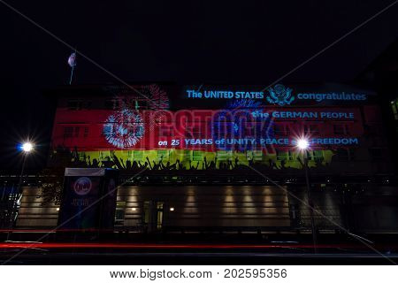 BERLIN GERMANY - OCTOBER 13 2015: The US Embassy in the evening illumination. The annual Festival of Lights 2015