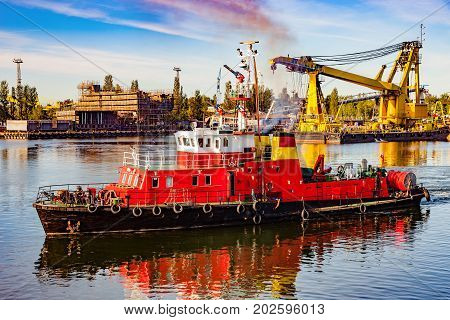 Fire rescue ship in port of Gdansk Poland.