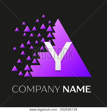 Realistic letter Y vector logo symbol in the colorful triangle with shattered blocks on black background. Vector template for your design