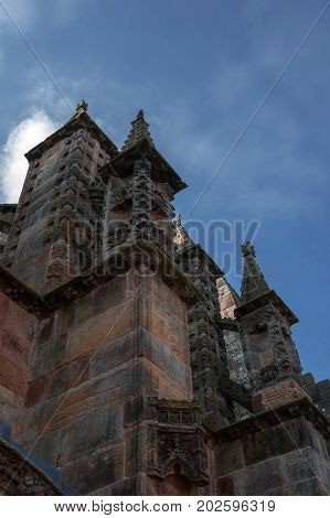 detail of the chapel of rosslyn in scotland