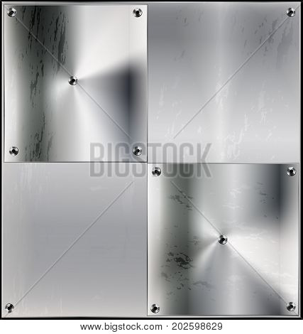iron background, metal stylized sheet with geometric figure squares and holes
