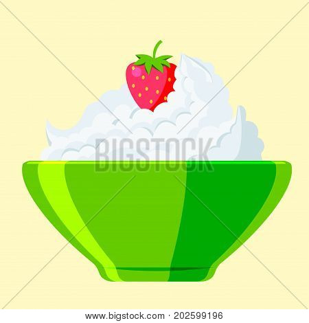 Dairy milk product curd cottage cheese on white background organic healthy cream vector. Fresh cheese fromage frais nutrition farm calcium breakfast.