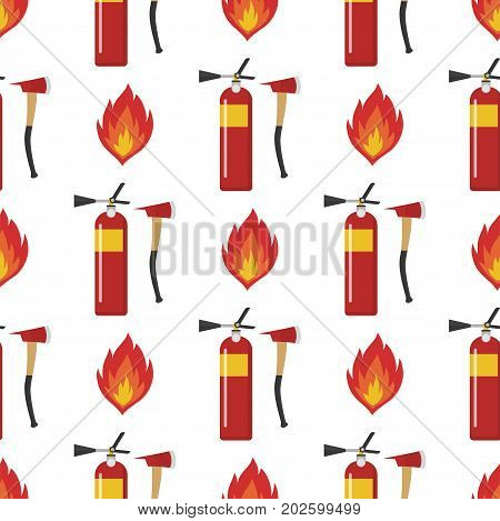 Fire safety equipment emergency firefighter seamless pattern safe danger accident flame protection vector illustration. Hazard warning caution tool firefighting tools.