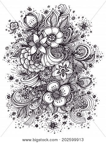 Beautiful  abstract flowers bouquet black on white made by trace for coloring page or adult relax coloring book or  for print on T-Shirt or for decoration package and different things