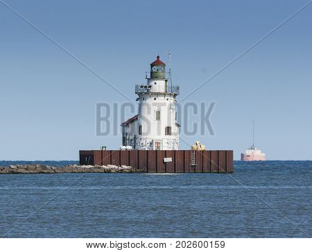 The Cleveland Harbor West Pierhead Lighthouse marking the entrance to the harbor on Lake Erie at Cleveland, Ohio