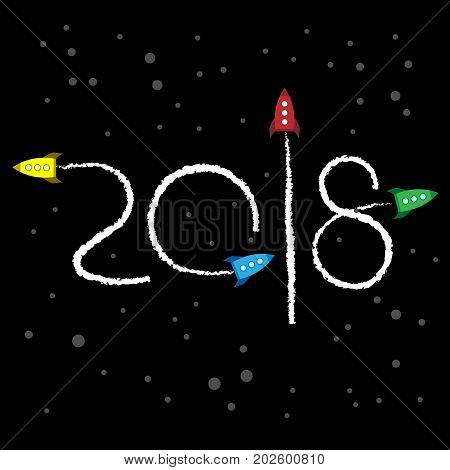 New Year 2018 concept - cartoon rockets left traces in the form of numbers. Toy retro spaceships write digits in the sky. Flat vector clip art. Template for greeting card cover.