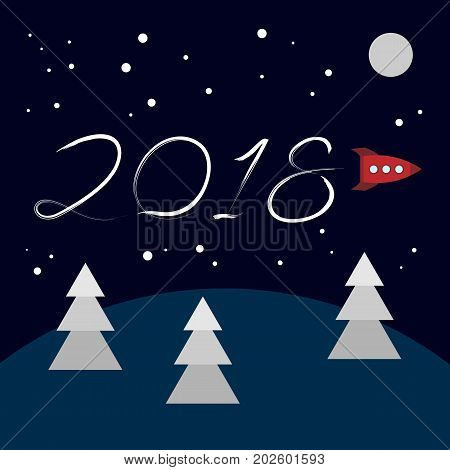 New Year concept - cartoon rocket left a trace in the form of numbers 2018. Flat vector clip art. Retro toy spaceship write in the sky. Template for greeting card cover.