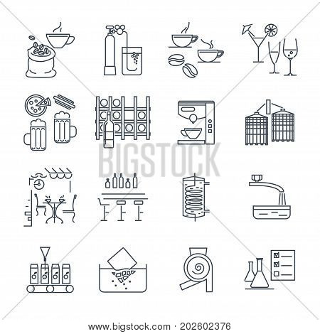 set of thin line icons drinks and beverages coffee alcohol