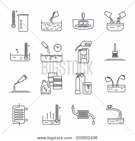 set of thin line icons household chemicals tool process