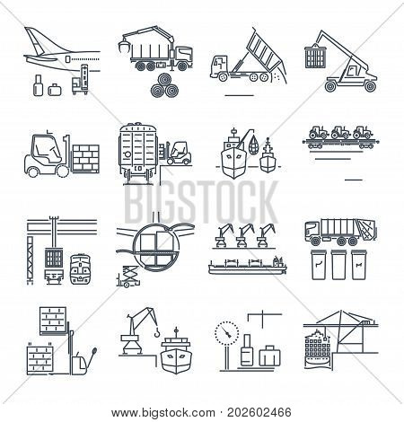 set of thin line icons loading and unloading of goods handling storage