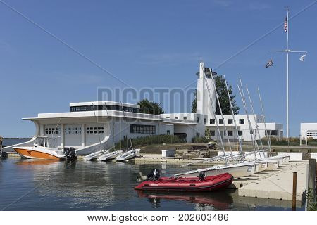 Cleveland, USA - August 26, 2017: Work continues on the transformation of the once abandoned US Coast Guard Station at the mouth of the Cuyahoga River into a waterfront recreation center