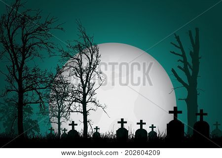 Vector realistic illustration of a haunted cemetery with tombstones cross and trees without leaves under a dramatic sky with moon
