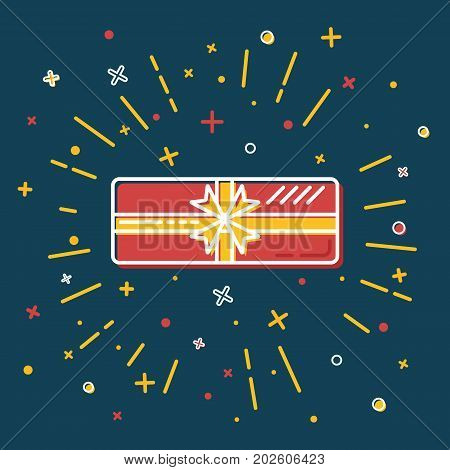 Rectangular gift box icon in flat style. Shining present box with bow on blue background.