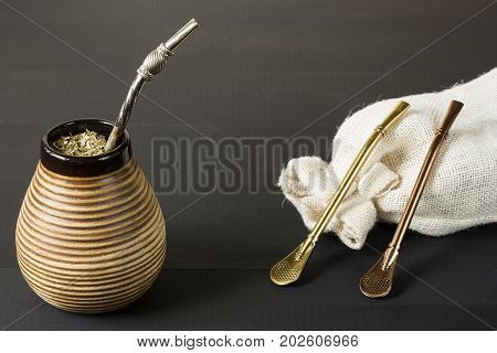 yerba mate with dedicated accesories. traditional south american drink