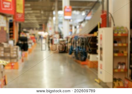 Blurred view of supermarket aisle