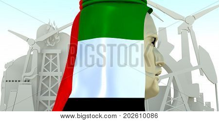 Arab business man in traditional cloth textured by flag of United Arab Emirates. Industrial isometric icons set. 3D rendering. Energy generation and heavy industry.