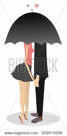 Young man and woman hold hands and staying under umbrella. Love couples hold hands and hide to kiss under big umbrella