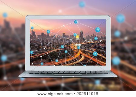 Smart Laptop With Smart City And Wifi Connection Link For Smart Technology Of Internet Of Things On