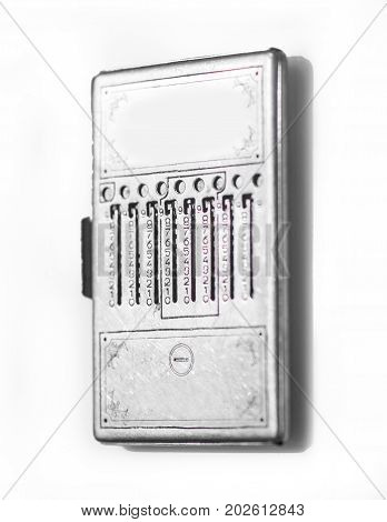 Vintage silver cash register isolated on white
