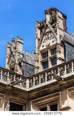 Architectural detail of the Cluny museum (Musee de Cluny) or National Museum of the Middle Ages (Musee national du Moyen Age) in the Hotel de Cluny. The Musee de Cluny houses a variety of important medieval artifacts. Paris France
