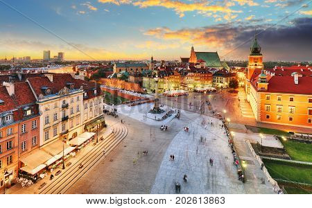 Warsaw Old Town square Royal castle at sunset Poland