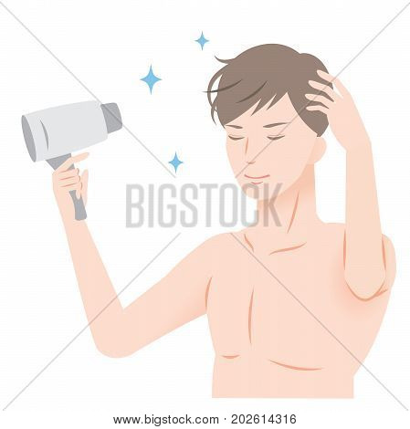young man blow drying his hair with hair dryer. hair care and men's beauty concept