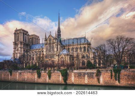 Cathedrale Notre-Dame de Paris on Ile de la Cite. France. Paris