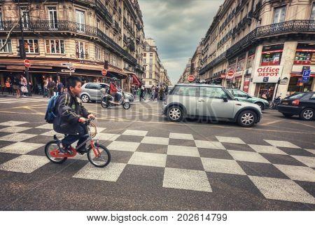 France, Paris - March 2008: Crosswalk on rue Etienne Marcel (rue Aux Ours) and Boulevard de Sebastopol. Paris. France