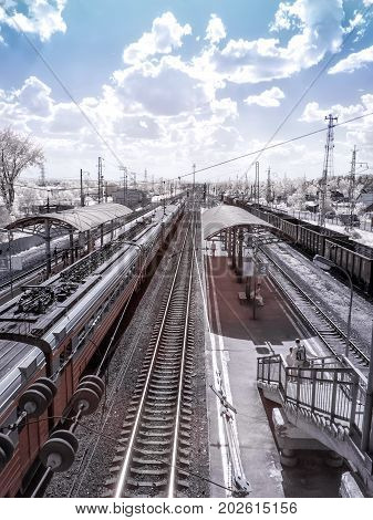 FRYAZEVO RUSSIA - June 24.2011: Infrared photography. Parking of suburban electric trains at the terminal station