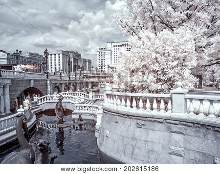 MOSCOW RUSSIA - June 25.2011: Infrared photography. Summer. Downtown Manezhnaya square