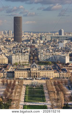 Champ de Mars, Wall Of Peace, Place Joffre, Tour Montparnasse, Institut des Hautes Etudes de Defense Nationale (IHEDN) from the Eiffel Tower. Paris. France
