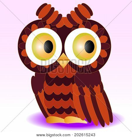 An Owl Painted In Colors Of A Halloween, Feathers Orange And Burgundy, Wings And A Stern Detail Deta