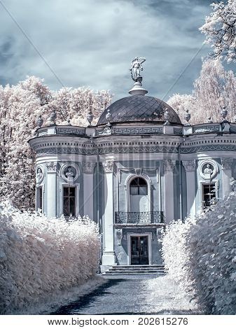 MOSCOW RUSSIA - July 15.2011: Kuskovo. An ancient palace complex and the park of Count Sheremetyev. Infrared photography