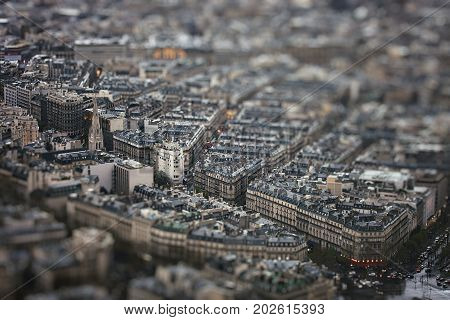 Evening Paris from the Eiffel Tower. View of the avenue George V, place de l'Alma and American Cathedral. France.