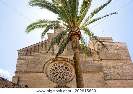 Old Town Sant Jaume church in Majorca. Alcudia Mallorca Balearic island Spain 28.06.2017